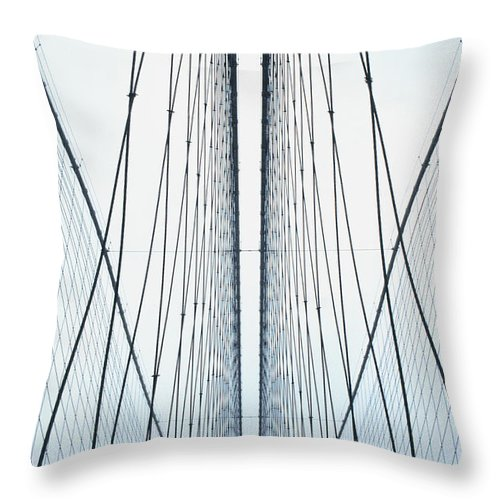 Suspension Bridge Throw Pillow featuring the photograph Brooklyn Bridge by Eric O'connell