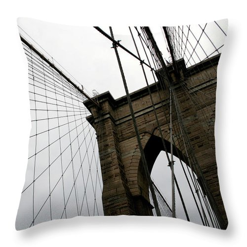 Suspension Bridge Throw Pillow featuring the photograph Brooklyn Bridge by Penfold