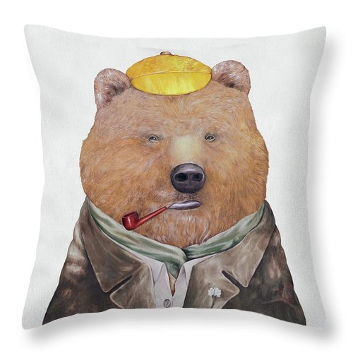 Brown Bear Throw Pillow featuring the painting Brown Bear by Animal Crew