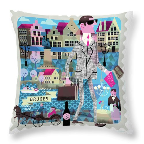 Belgium Throw Pillow featuring the digital art Bruges by Luciano Lozano