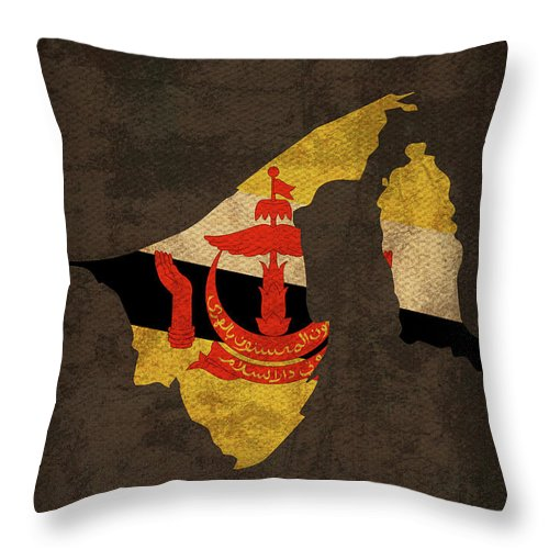 Brunei Throw Pillow featuring the mixed media Brunei Country Flag Map by Design Turnpike