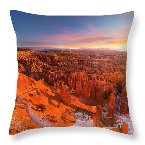 Scenics Throw Pillow featuring the photograph Bryce Canyon National Park At Sunset by Ankit Saxena