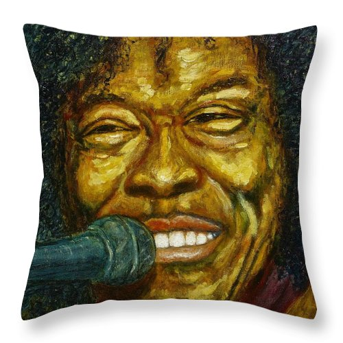 Blues Throw Pillow featuring the painting Buddy Guy by Michael Titherington