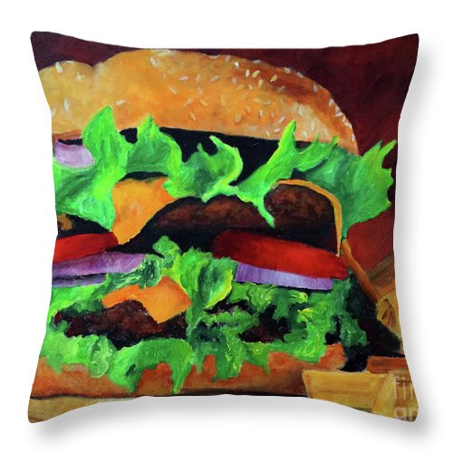 Hamburger Throw Pillow featuring the painting Burger Friday by Frankie Picasso