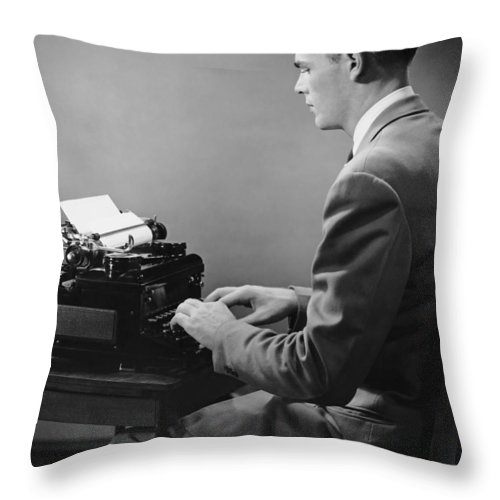Three Quarter Length Throw Pillow featuring the photograph Businessman Inside Office Typing by George Marks