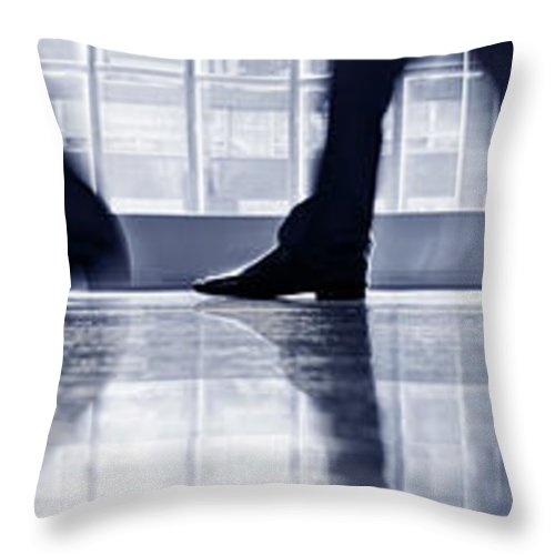 Corporate Business Throw Pillow featuring the photograph Businesspeople Walking In Lobby, Low by Poba