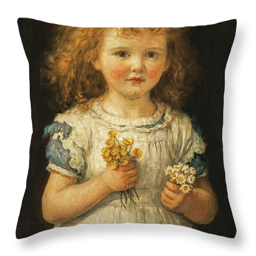 Hugh Cameron Throw Pillow featuring the painting Buttercups And Daisies, 1881 by Hugh Cameron