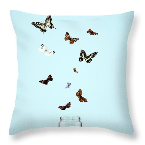 Animal Themes Throw Pillow featuring the photograph Butterflies Escaping From Jar by Martin Poole