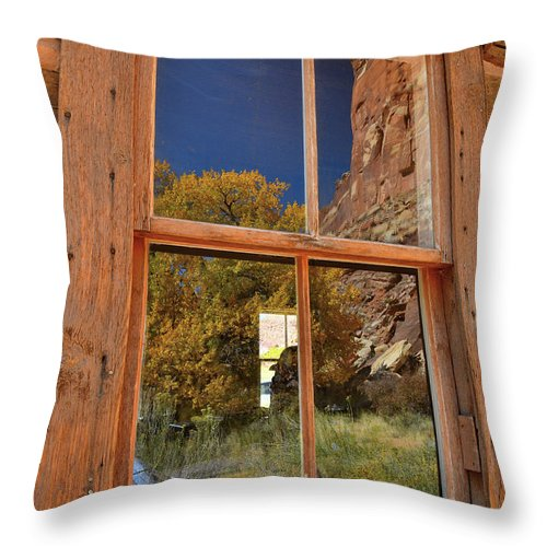 Capitol Reef National Park Throw Pillow featuring the photograph Buttes And Fall Color Reflected In Fruita School Window In Capitol Reef Np by Ray Mathis