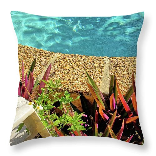 Swimming Pool Throw Pillow featuring the photograph By The Pool by Zal Latzkovich