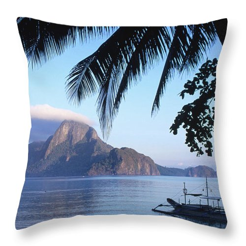 People Throw Pillow featuring the photograph Cadlao Island From El Nido, Sunrise by Dallas Stribley