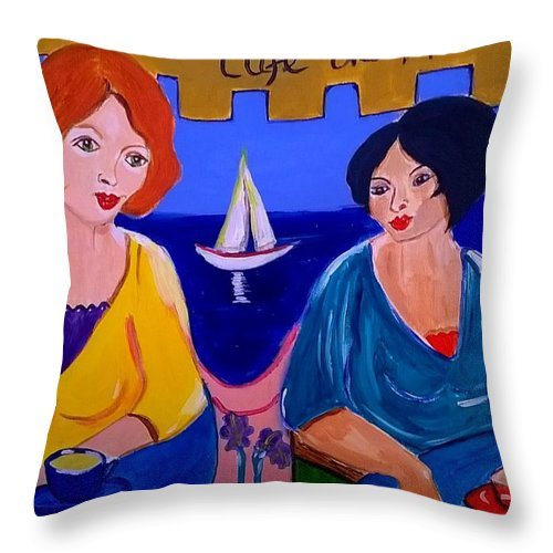 Provence Throw Pillow featuring the painting Cafe De Marseille by Rusty Gladdish