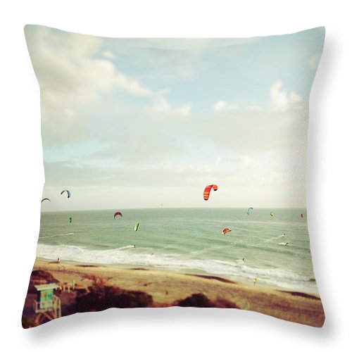 California Throw Pillow featuring the photograph California Tilt Shifted Kite Surfers by Kevinruss