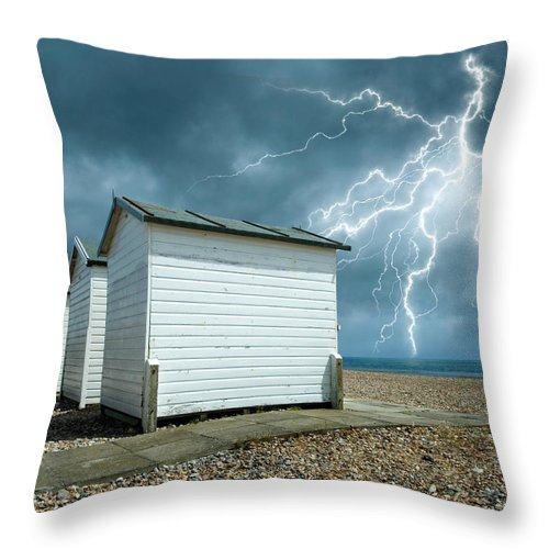 Water's Edge Throw Pillow featuring the photograph Calm Before The Storm by Blackbeck