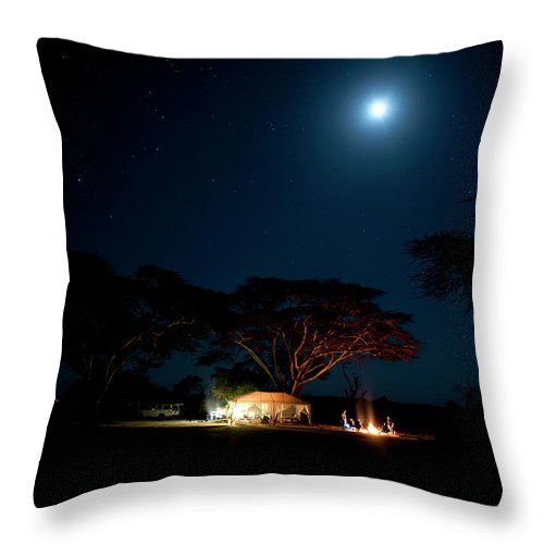 Tranquility Throw Pillow featuring the photograph Camping Under Fever Tree And Full Moon by Mike D. Kock