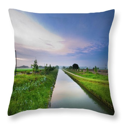 Scenics Throw Pillow featuring the photograph Canal De Lourcq - Precy Sur Marne - by © Nicolas Gaire