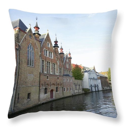 Old Town Throw Pillow featuring the photograph Canal In The Old Town Of Brugge by Christof Koepsel
