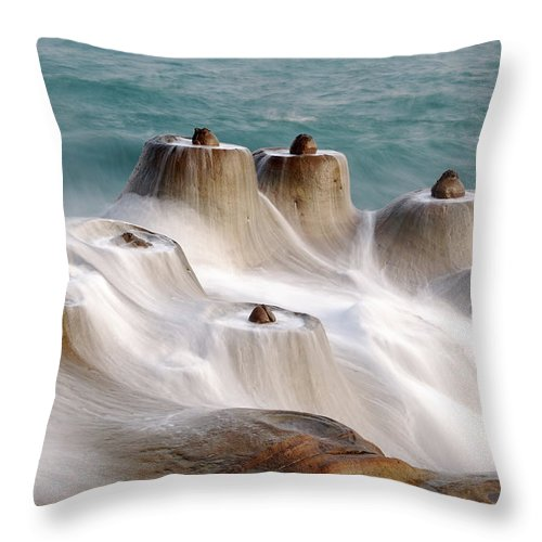 Taiwan Throw Pillow featuring the photograph Candle Shaped Rock by Maxchu