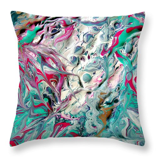 Synapse Throw Pillow featuring the painting Happy Synapse by Vallee Johnson