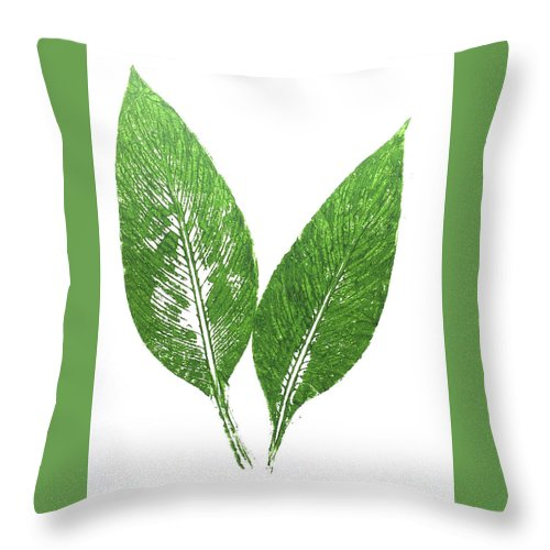 Cannas Throw Pillow featuring the painting Cannas Leaves by Marsha McAlexander