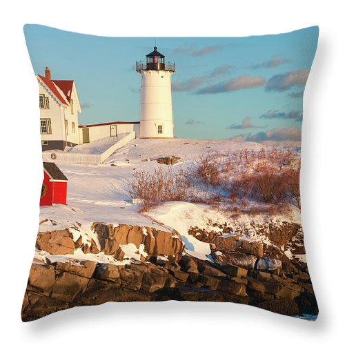 Snow Throw Pillow featuring the photograph Cape Neddick Nubble Light by Kickstand