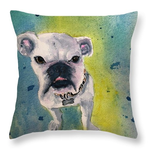 English Bulldog Throw Pillow featuring the painting Captain by Midge Pippel