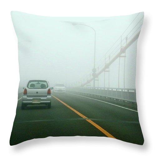 Dawn Throw Pillow featuring the photograph Car Crossing Bridge by Kurosaki San