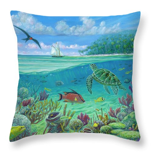 Seascape Throw Pillow featuring the painting Caribbean Exploration by Danielle Perry
