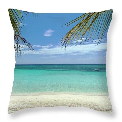 Cool Attitude Throw Pillow featuring the photograph Caribbean Sea And White Sand Beach by Digi guru