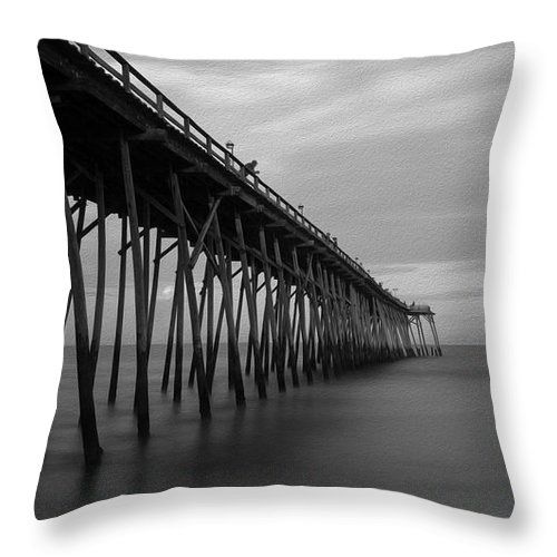 Ocean Throw Pillow featuring the photograph Carolina Beach Pier On Labor Day Eve by SL Ernst