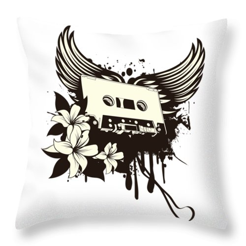 Gothic Throw Pillow featuring the digital art Cassette Tape With Wings by Passion Loft
