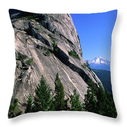 Toughness Throw Pillow featuring the photograph Castle Crags With Mt Shasta In by John Elk Iii
