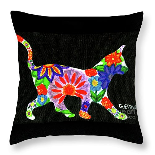Cat Throw Pillow featuring the painting Cat In Floral Silhouette by Genevieve Esson