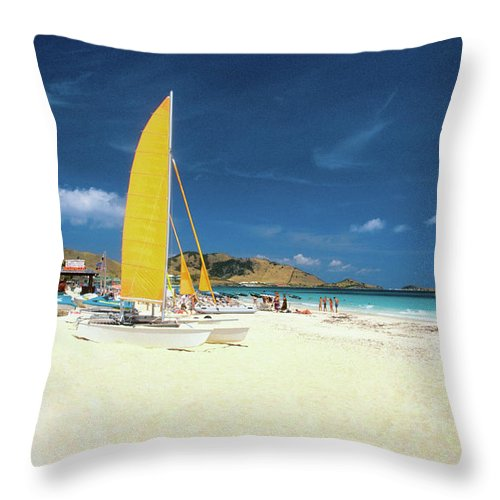 Orient Beach Throw Pillow featuring the photograph Catamarans And People On Martin Orient by Medioimages/photodisc