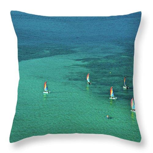 Scenics Throw Pillow featuring the photograph Catamarans, Catseye Bay, Hamilton by Robin Smith
