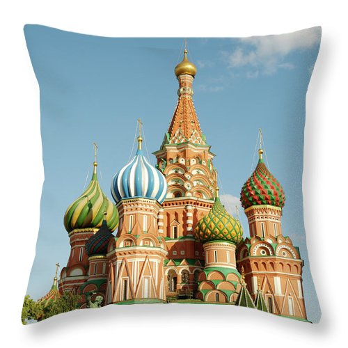 Statue Throw Pillow featuring the photograph Cathedral Of Saint Basil The Blessed In by Travelif