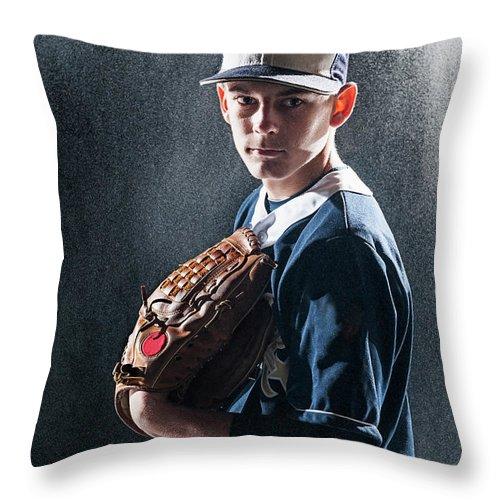 Baseball Cap Throw Pillow featuring the photograph Caucasian Baseball Player Standing by Erik Isakson