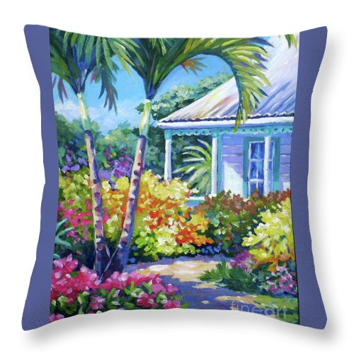 Art Throw Pillow featuring the painting Cayman Yard by John Clark