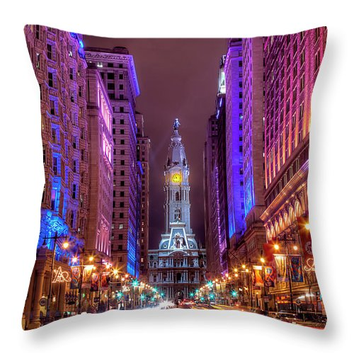 Land Vehicle Throw Pillow featuring the photograph Center City Philadelphia by Eric Bowers Photo