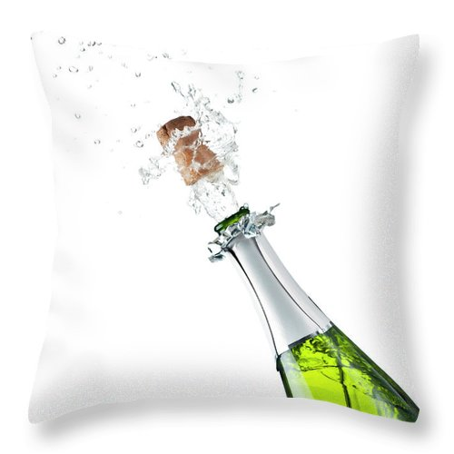 Releasing Throw Pillow featuring the photograph Champagne Bottle by Mphillips007