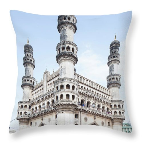 Arch Throw Pillow featuring the photograph Charminar Monument In Hyderabad by Jasper James