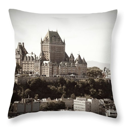 Copper Throw Pillow featuring the photograph Chateau Frontenac From Levis, Quebec by Onfokus