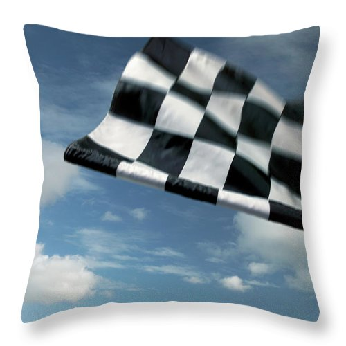 Working Throw Pillow featuring the photograph Checkered Flag by James W. Porter