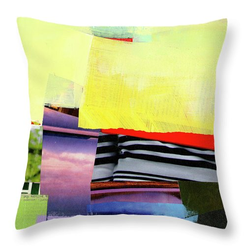 Abstract Art Throw Pillow featuring the painting Checkered Past by Jane Davies