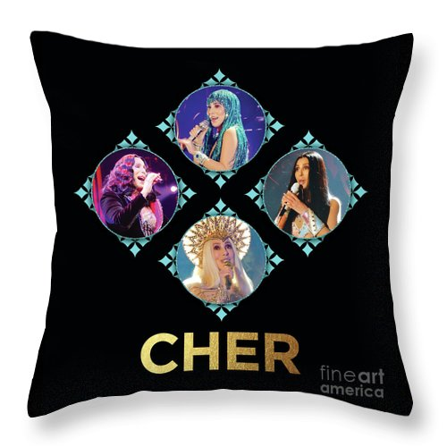 Cher Throw Pillow featuring the digital art Cher - Blue Diamonds by Gabrielle D