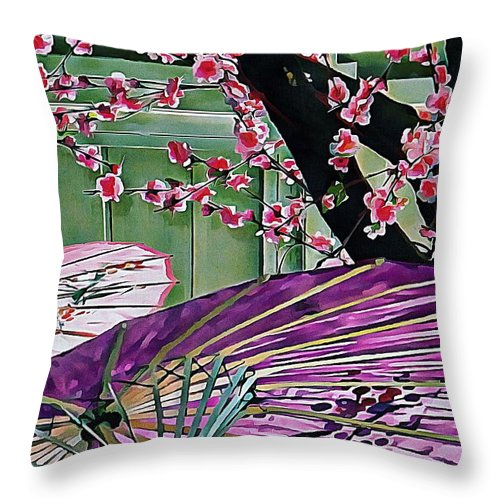 Colorful Oriental Parasols Throw Pillow featuring the photograph Cherry Blossom Parasols by Dorothy Berry-Lound