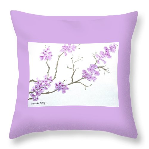 Cherry Blossoms Throw Pillow featuring the painting Cherry Blossoms by Marsha McAlexander