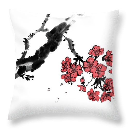 Chinese Culture Throw Pillow featuring the digital art Cherry Blossoms by Vii-photo