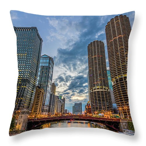 Chicago River Throw Pillow featuring the photograph Chicago River Sunset by Carl Larson Photography