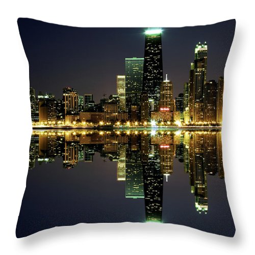 Lake Michigan Throw Pillow featuring the photograph Chicago Skyline Reflected On Lake by Pawel.gaul
